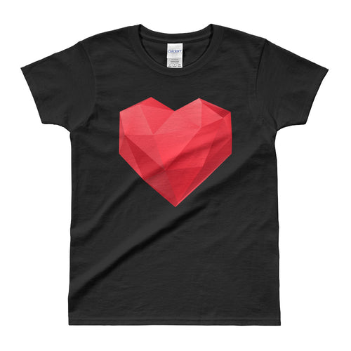 Asymmetrical Heat T Shirt Black Geometrical Heart T Shirt for Women - FlorenceLand