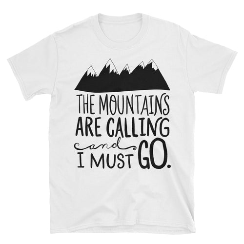 The Mountains Are Calling and I Must Go T Shirt White Cotton T Shirt for Men - FlorenceLand