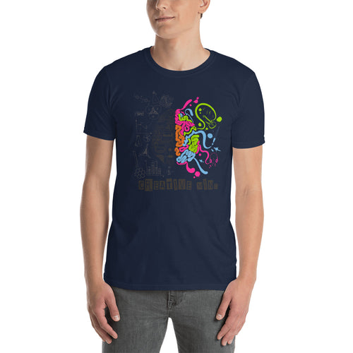 Creative Mind T Shirt Navy Nerd Brain T Shirt for Men - FlorenceLand