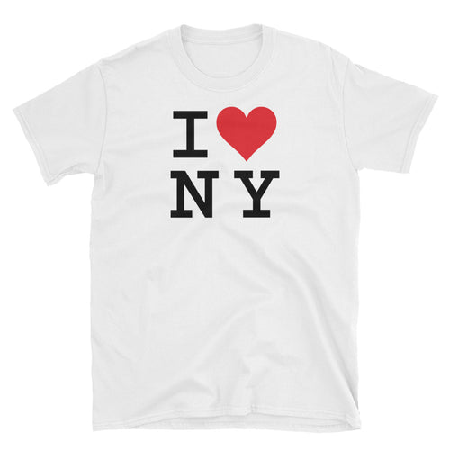 I Love NY White 100% Cotton I Love New York T Shirt for Men