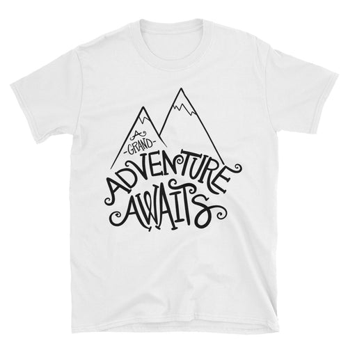 Adventure Awaits T Shirt White Cotton Adventure Time T Shirt for Men - FlorenceLand