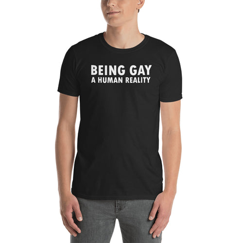 Being Gay T Shirt Black Being Gay A Human Reality T Shirt For Men - FlorenceLand