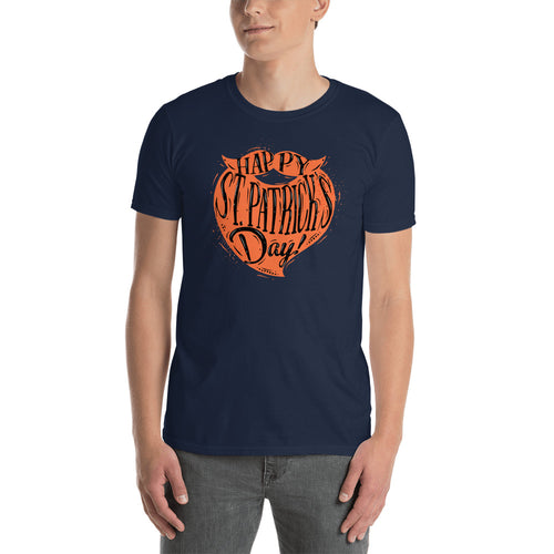 St Patrick Day Orange Beard T Shirt Navy Color Happy St Patrick day T Shirts for Men - FlorenceLand