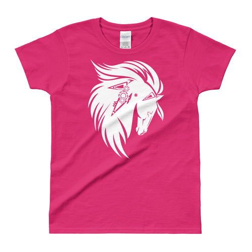 White Stallion Printed Short Sleeve Round Neck Pink Cotton T-Shirt for Women - FlorenceLand