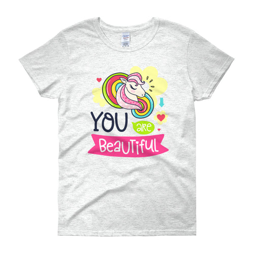 You Are Beautiful Short Sleeve Round Neck Ash Color T-Shirt for Women
