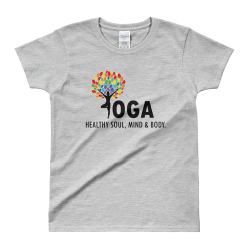 Yoga T Shirt Grey Shakti Yoga T Shirt Healthy Soul, Mind & Body T Shirt for Women - FlorenceLand