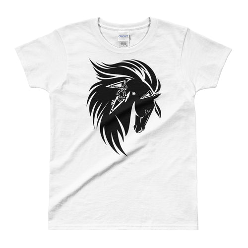 Stallion Printed Short Sleeve Round Neck White 100% Cotton T-Shirt for Women - FlorenceLand