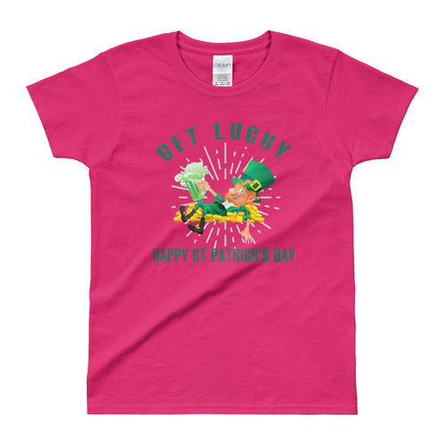 Get Lucky T Shirt Pink Happy St. Patrick's Day T Shirt for Women - FlorenceLand