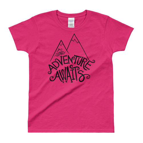 Adventure Awaits T Shirt Pink Cotton Adventure Time T Shirt for Women - FlorenceLand