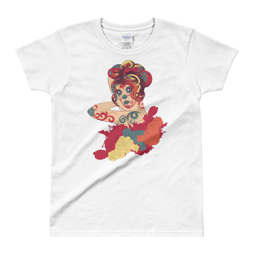 Day of the Dead Short Sleeve Round Neck White Cotton T Shirt for Women - FlorenceLand