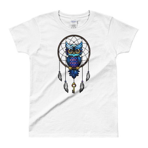 Dream Catcher T Shirt White Dream Catcher Owl T Shirts for Women - FlorenceLand