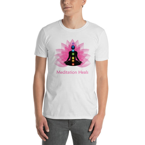 Meditation T Shirt White Meditation Heals T Shirt Pyramid Meditation T Shirt for Men - FlorenceLand