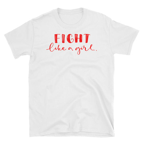 Fight Like a Girl T Shirt White Girl Empowerment T Shirt Short-Sleeve Strong Girl T-Shirt - FlorenceLand