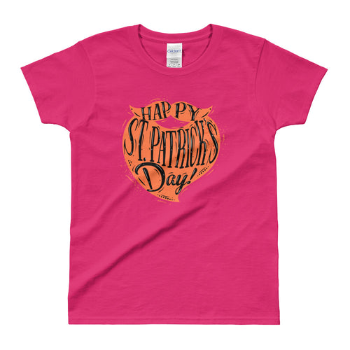 St Patrick Day Orange Beard T Shirt Pink Color Happy St Patrick day T Shirts for Women - FlorenceLand