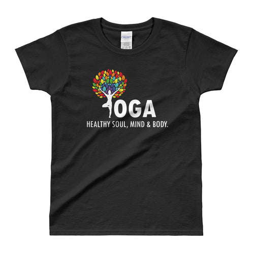 Yoga T Shirt Black Shakti Yoga T Shirt Healthy Soul, Mind & Body T Shirt for Women - FlorenceLand