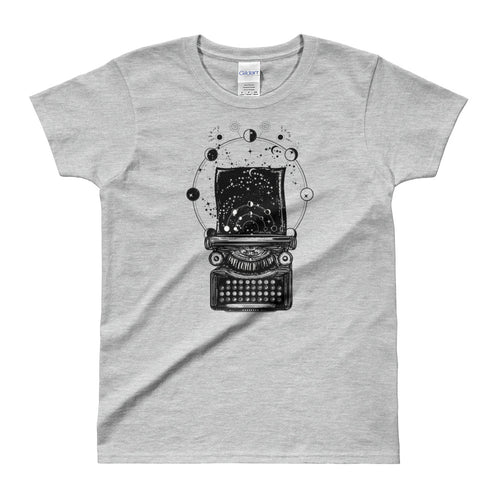 Typewriter tattoo Design T Shirt Symbol of Imagination Typewriter T Shirt Grey for Women - FlorenceLand