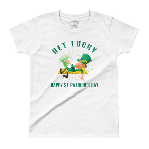 Get Lucky T Shirt White Happy St. Patrick's Day T Shirt for Women - FlorenceLand