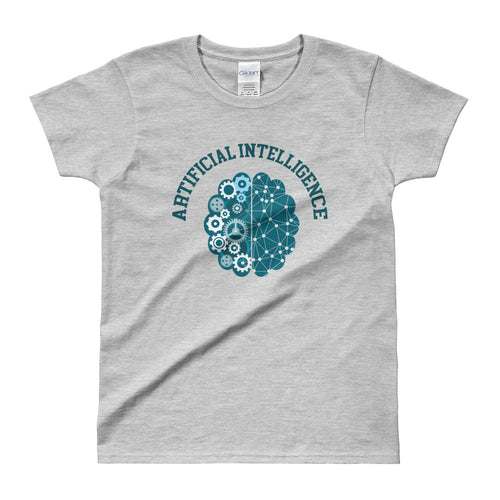 Artificial intelligence T Shirt Grey AI Geek T Shirt for Women - FlorenceLand
