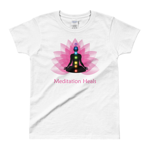Meditation T Shirt White Meditation Heals T Shirt Pyramid Meditation T Shirt for Women - FlorenceLand