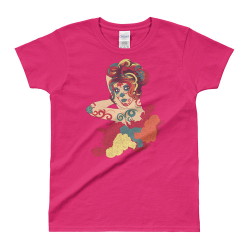 Day of the Dead Short Sleeve Round Neck Pink Cotton T Shirt for Women - FlorenceLand