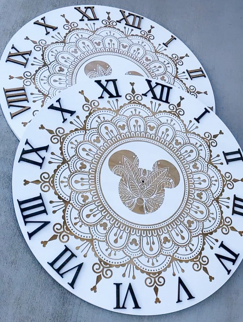 White Engraved Mandala Clock (two sizes available)