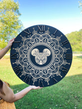 Load image into Gallery viewer, Black Engraved Mandala Clock (two sizes available)
