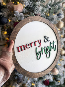 "Merry & Bright 17"" Sign"