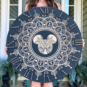 Black Engraved Mandala Clock (two sizes available)