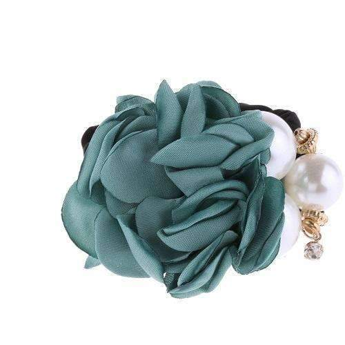 1 PC Fashion Women Satin Ribbon Big Rose Flower Pearls Hairband Floral Decor Elastic Ponytail Holder Hair Band Accessories-Green-JadeMoghul Inc.