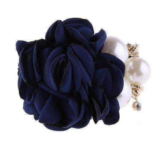 1 PC Fashion Women Satin Ribbon Big Rose Flower Pearls Hairband Floral Decor Elastic Ponytail Holder Hair Band Accessories-Navy-JadeMoghul Inc.
