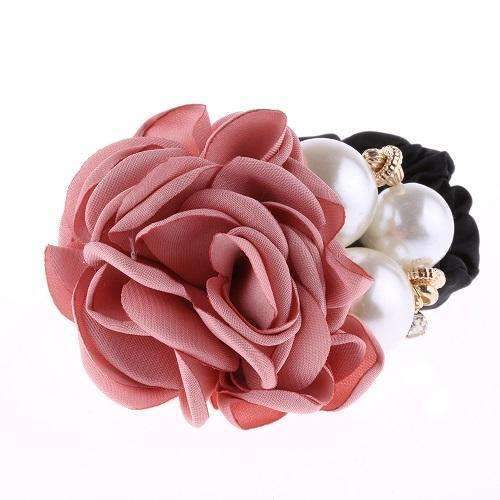 1 PC Fashion Women Satin Ribbon Big Rose Flower Pearls Hairband Floral Decor Elastic Ponytail Holder Hair Band Accessories-Pink-JadeMoghul Inc.