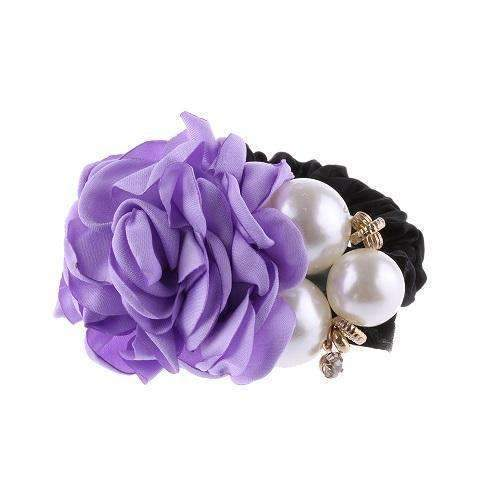 1 PC Fashion Women Satin Ribbon Big Rose Flower Pearls Hairband Floral Decor Elastic Ponytail Holder Hair Band Accessories-Purple-JadeMoghul Inc.