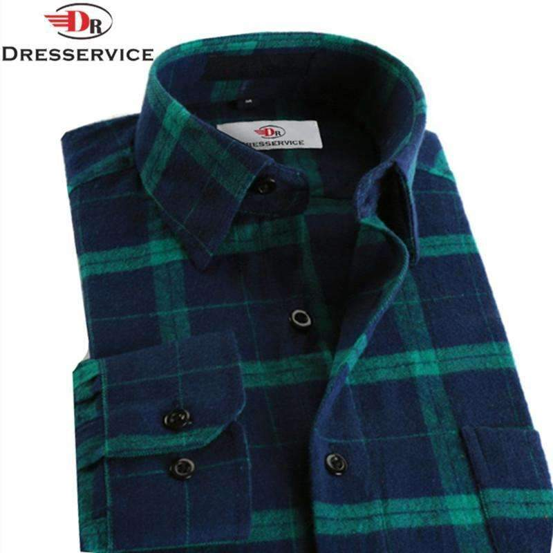 100% Cotton Men Plaid Long-Sleeved Casual Shirt / Flannel Slim Fit Shirt-DTF02-S-JadeMoghul Inc.