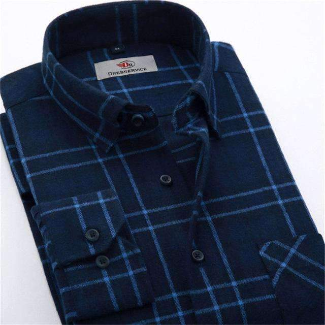 100% Cotton Men Plaid Long-Sleeved Casual Shirt / Flannel Slim Fit Shirt-DTF03-S-JadeMoghul Inc.