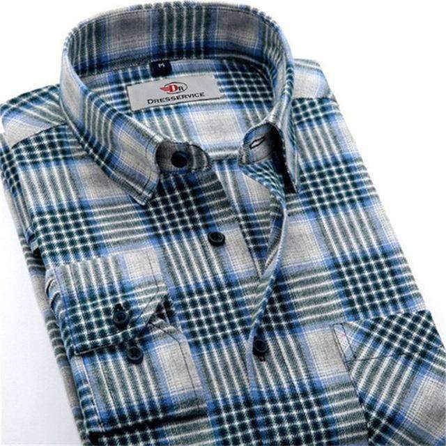 100% Cotton Men Plaid Long-Sleeved Casual Shirt / Flannel Slim Fit Shirt-DTF04-S-JadeMoghul Inc.