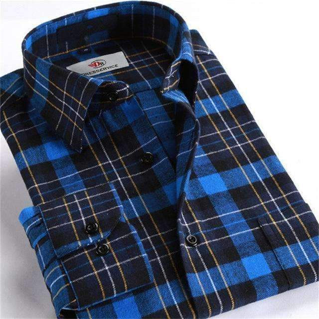 100% Cotton Men Plaid Long-Sleeved Casual Shirt / Flannel Slim Fit Shirt-DTF08-S-JadeMoghul Inc.