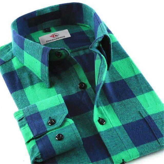 100% Cotton Men Plaid Long-Sleeved Casual Shirt / Flannel Slim Fit Shirt-DTF10-S-JadeMoghul Inc.