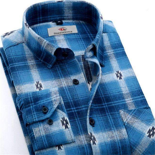 100% Cotton Men Plaid Long-Sleeved Casual Shirt / Flannel Slim Fit Shirt-DTF11-S-JadeMoghul Inc.