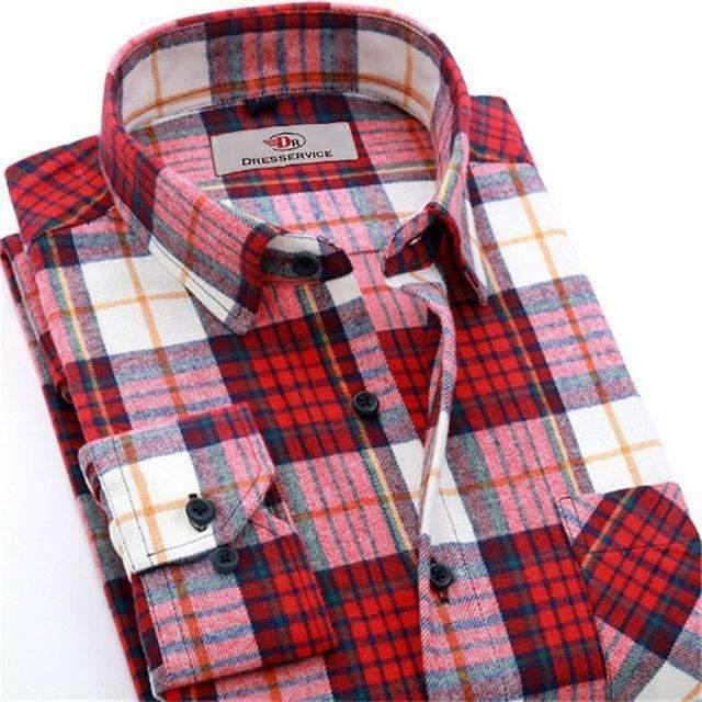 100% Cotton Men Plaid Long-Sleeved Casual Shirt / Flannel Slim Fit Shirt-DTF12-S-JadeMoghul Inc.
