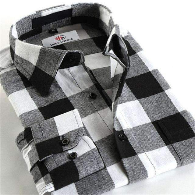 100% Cotton Men Plaid Long-Sleeved Casual Shirt / Flannel Slim Fit Shirt-DTF16-S-JadeMoghul Inc.