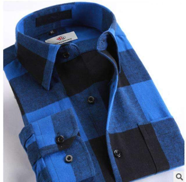100% Cotton Men Plaid Long-Sleeved Casual Shirt / Flannel Slim Fit Shirt-DTF22-S-JadeMoghul Inc.