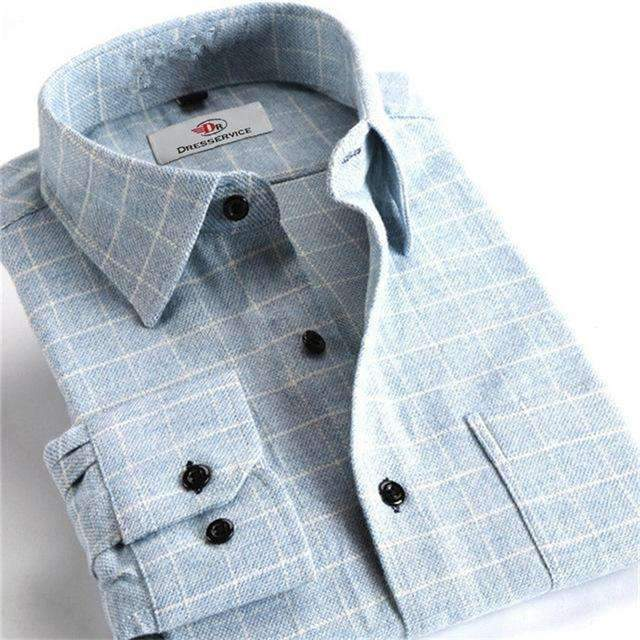100% Cotton Men Plaid Long-Sleeved Casual Shirt / Flannel Slim Fit Shirt-DTF23-S-JadeMoghul Inc.