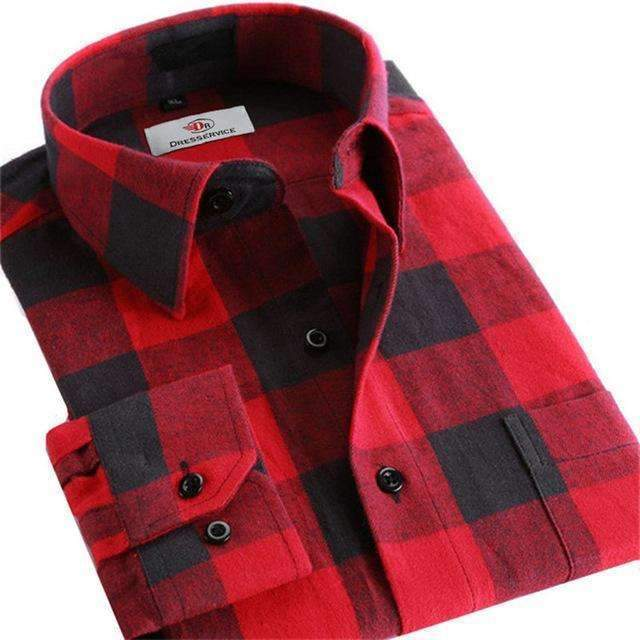 100% Cotton Men Plaid Long-Sleeved Casual Shirt / Flannel Slim Fit Shirt-DTF24-S-JadeMoghul Inc.