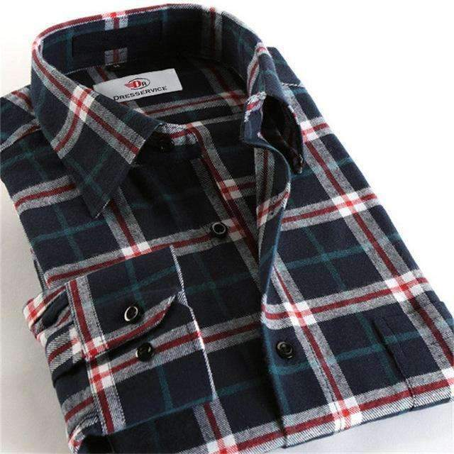 100% Cotton Men Plaid Long-Sleeved Casual Shirt / Flannel Slim Fit Shirt-DTF38-S-JadeMoghul Inc.