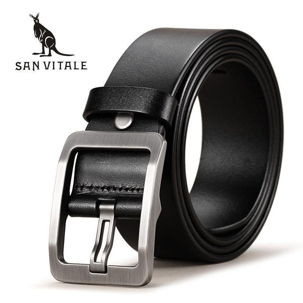 100% Cowhide Genuine Leather Belts for Men Brand Strap Male Pin Buckle Fancy Vintage Cowboy Jeans Cintos Freeshipping-SV 1707 Black-China-105cm-JadeMoghul Inc.