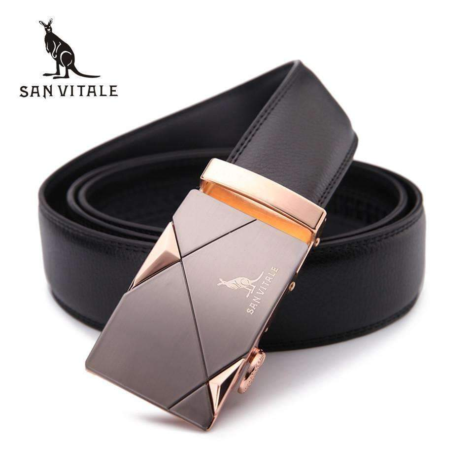 100% Genuine Leather Men Belt-SV1418 Gold-110cm-JadeMoghul Inc.