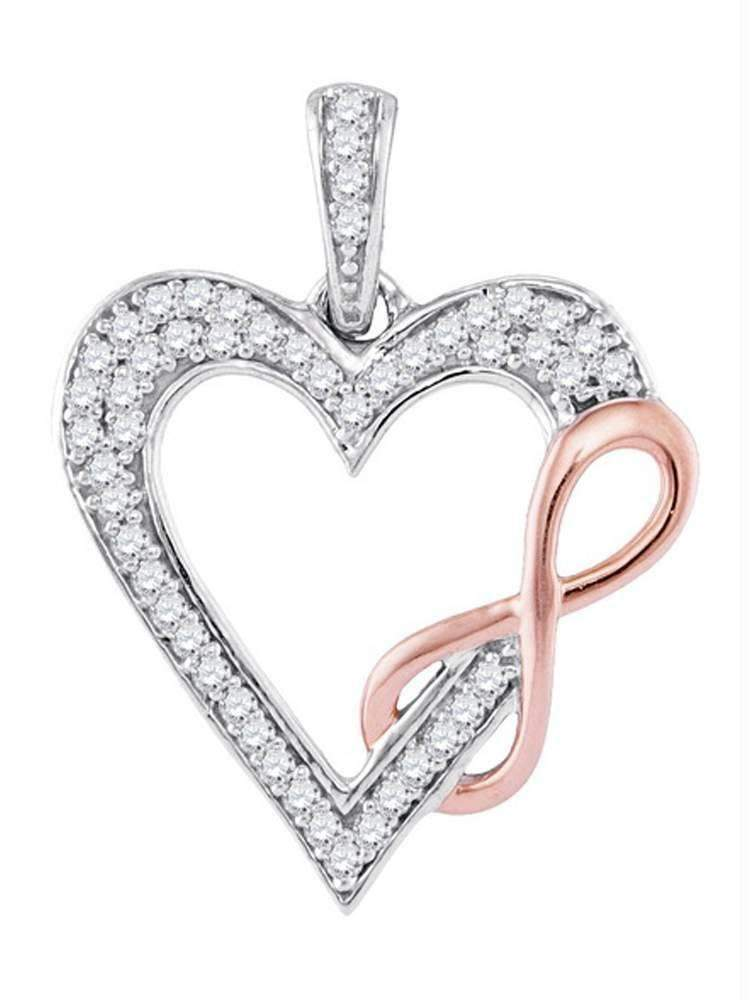 10k 2-tone Gold Women's Diamond Heart Infinity Pendant - FREE Shipping (US/CA)-Gold & Diamond Pendants & Necklaces-JadeMoghul Inc.