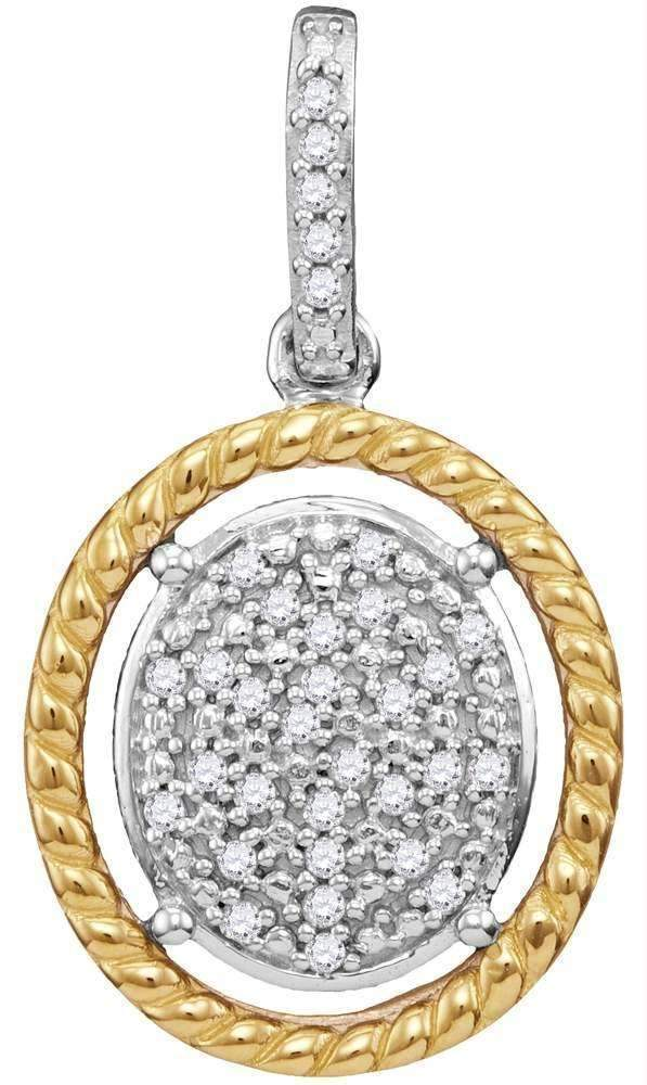 10k 2-tone Gold Women's Diamond Oval Cluster Yellow Rope Frame Pendant - FREE Shipping (US/CA)-Gold & Diamond Pendants & Necklaces-JadeMoghul Inc.