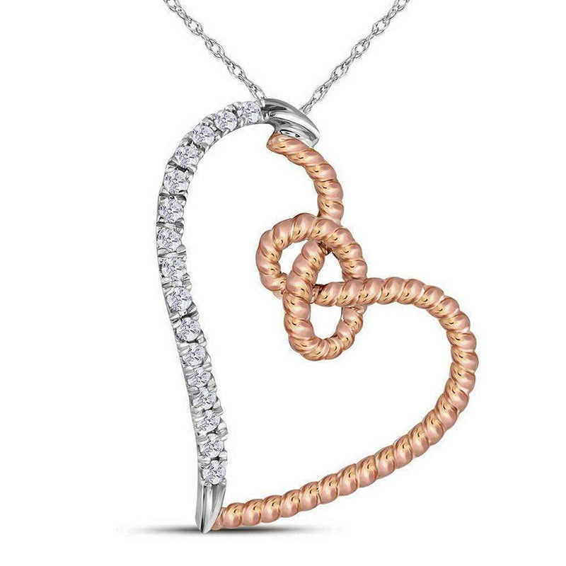 10k 2-tone Gold Women's Diamond Rope Heart Pendant-Gold & Diamond Pendants & Necklaces-JadeMoghul Inc.