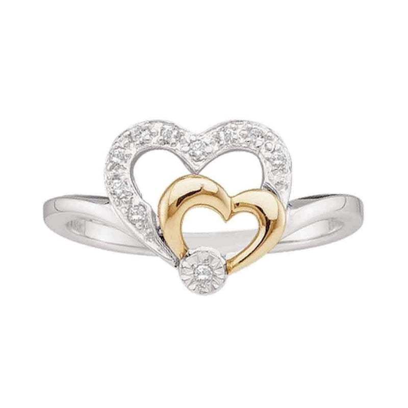 10k 2-tone White Gold Women's Diamond 2 Hearts Ring - FREE Shipping (US/CA)-Gold & Diamond Heart Rings-5-JadeMoghul Inc.